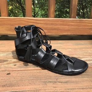 NWT Black Leather Lace Up Gladiator Sandals